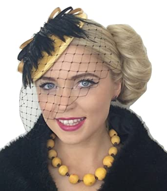 910472c8b832e  quot MADAM MUSTARD quot  WOMENS LADIES MUSTARD YELLOW GOLD BRONZE BLACK  FEATHER NET VEIL VINTAGE