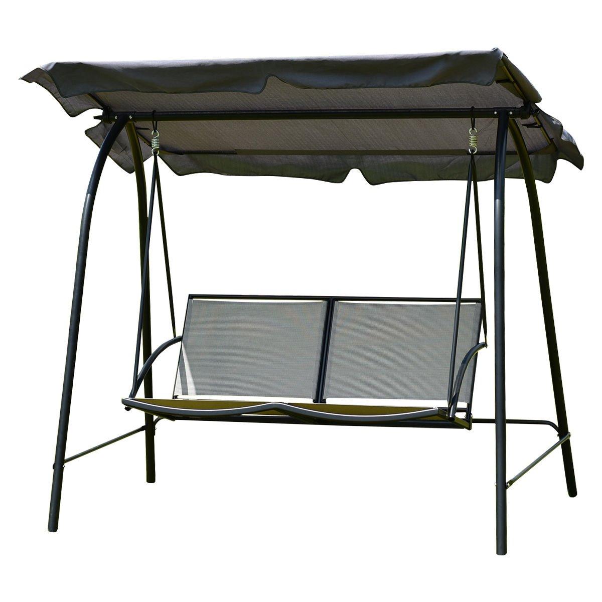 TANGKULA 2 Person Patio Swing Glider Outdoor Loveseat Swing Hammock Glider Chair (Grey)