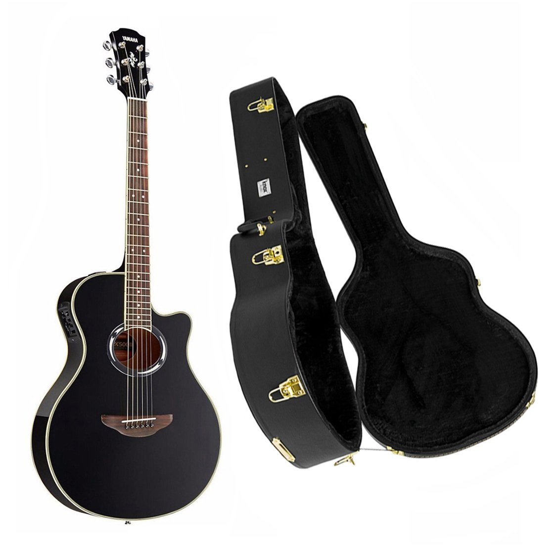 Yamaha APX500III Acoustic/Electric Cutaway Black Guitar with Knox Hardshell Case