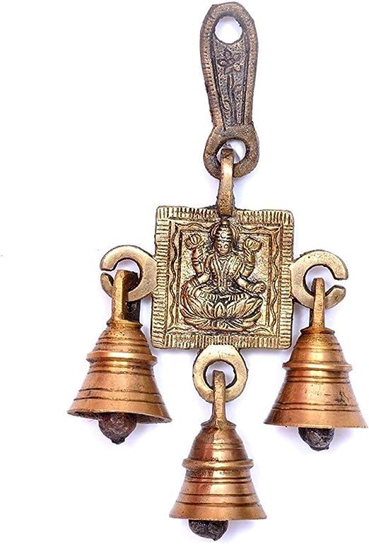 PARIJAT HANDICRAFT Brass Decorative Indian Style Fair Trade Wall Hanging Brass Bells Hanging Hindu God Ganesha Statue Engraved for Luck Home Temple Use