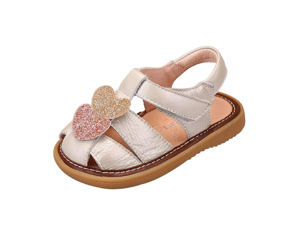 Genda 2Archer Toddler Girls Cute Love Hearts Genuine Leather Squeaky Sandals Shoes(Silver, 20) by Genda 2Archer (Image #1)