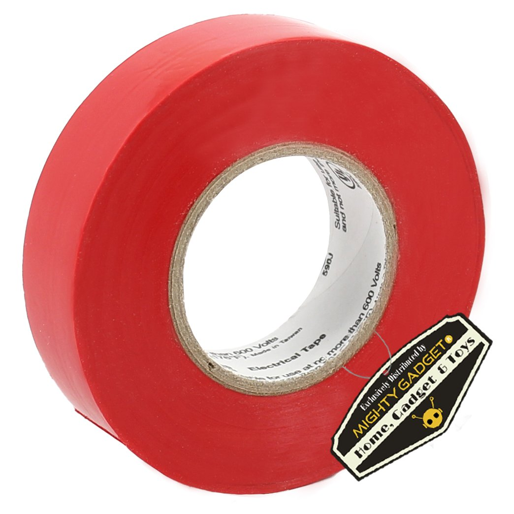 """R Rated up to 600 Volts and 176 /°F Dimensions: 3//4/"""" W 10 Pack of Mighty Gadget L Professional Grade UL Listed Red Color PVC Electrical Tapes with Durable Rubber Based Adhesive x 60 Feet"""