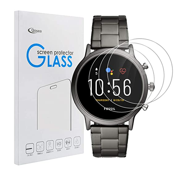 Qoosea for Fossil Gen 5 Screen Protector [3 Pack] Ultra-Thin 2.5D 9H Hardness Crystal Scratch Resistant Tempered Glass for Fossil Gen 5 Smartwatch