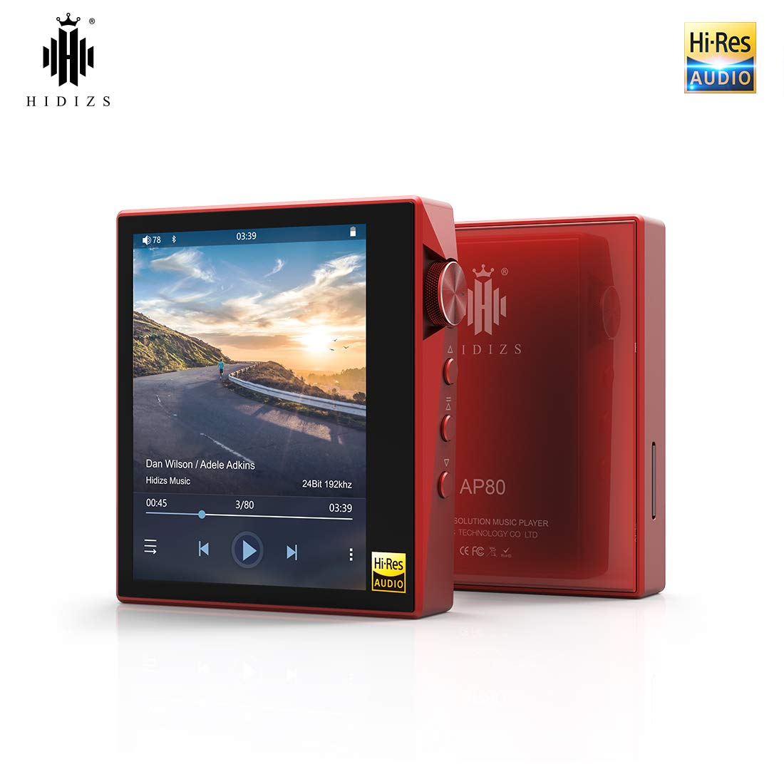 CDM product HIDIZS AP80 Hi-Fi Bluetooth MP3 Player, Portable High Resolution Digital Audio Player with LDAC/aptX/DSD, Lossless Music Player with Full Touch Screen (Red) big image
