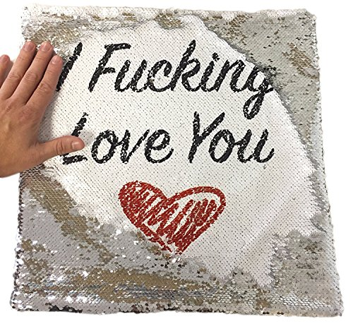 I Fking Love You Rude Funny Magic Cushion Cover   Silver Sequin