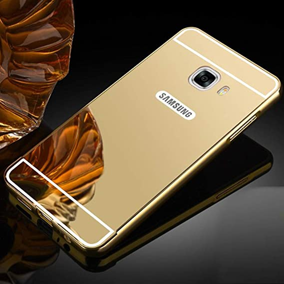 innovative design 67df4 11977 TheGiftKart Mirror Back Cover with Metal Bumper For Samsung C7 Pro (Golden)