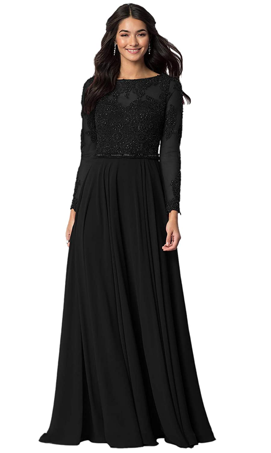 04f80846f6 Aofur Womens Long Sleeve Party Evening Dresses Formal Wedding Prom Cocktail  Gown Ladies Lace Chiffon Maxi Dress: Amazon.co.uk: Clothing