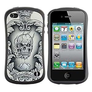 Suave TPU GEL Carcasa Funda Silicona Blando Estuche Caso de protección (para) Apple Iphone 4 / 4S / CECELL Phone case / / Crown Black White Drugs Skull Smoke /