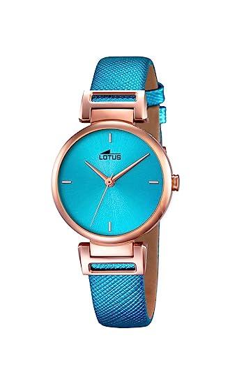 Lotus 18229/2 - Reloj de Pulsera Mujer, Cuero, Color Azul: Amazon.es: Relojes