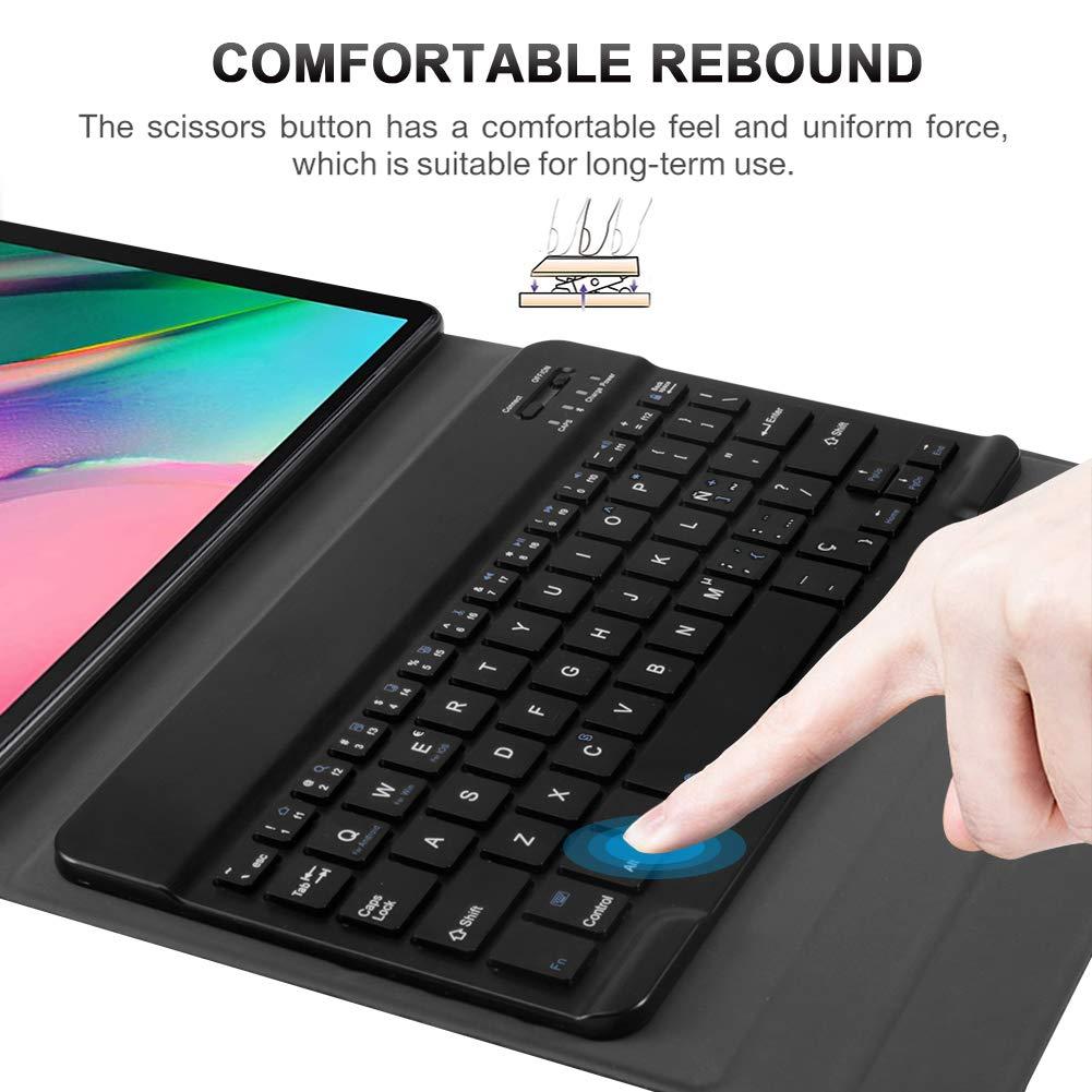 ,Slim Stand Funda con Desmontable Wireless Teclado para Samsung Galaxy Tab S5e T510//T515 10.5 2019 Espa/ñol Codream Teclado Estuche para Samsung Galaxy Tab A 10.1 T510//T515