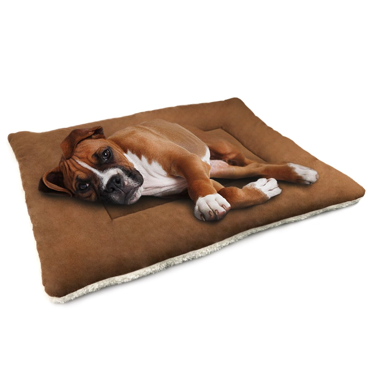 Dog Cushion Cover Dog Kennel Mat Washable Mat Comfortable Pad for Pet,Dog bed for crate (Medium, Brown)
