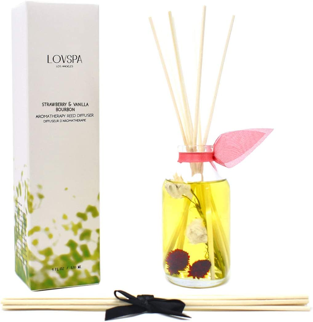 LOVSPA Strawberry & Vanilla Bourbon Reed Diffuser Oil Gift Set - Home Fragrance Made with Real Botanicals & Essential Oils - Great Idea for Mom, Dad, Wife or Husband