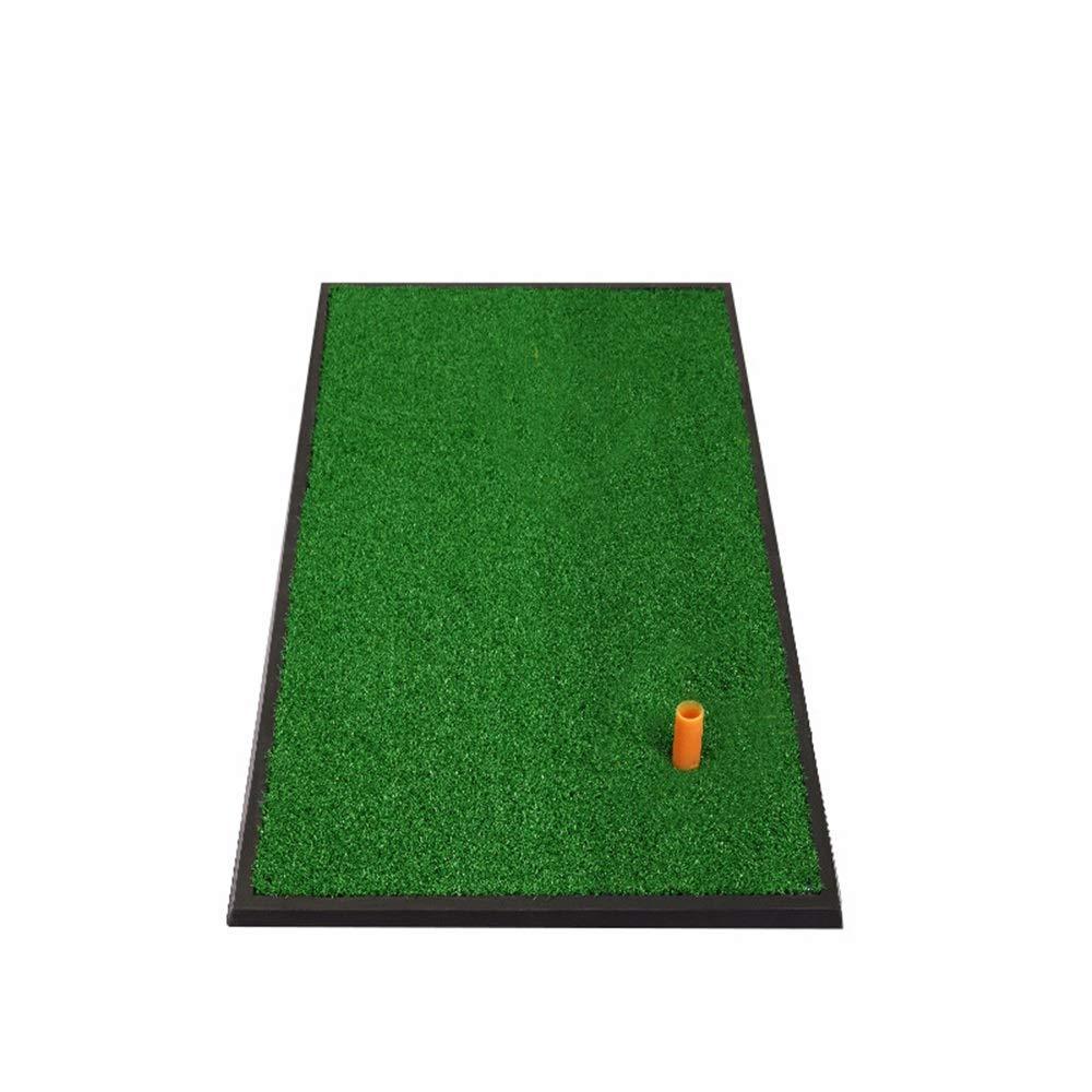ZTJQD 厚手ゴルフマット 屋内 ホーム ゴルフ 練習 スイングボールマット ゴム製 滑り止め ゴルフマット 33×63cm (ボール5個とティー1個)