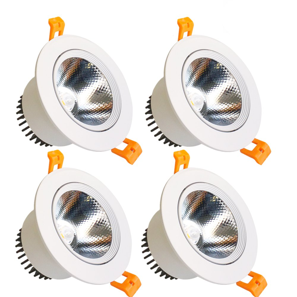 LightingWill LED Downlight 9W Dimmable Natural Whitee 4000K-4500K CRI80 COB Directional Recessed Ceiling Light Cut-out 3.35in (85mm) 60 Beam Angle 80W Halogen Bulbs Equivalent 4 Pack