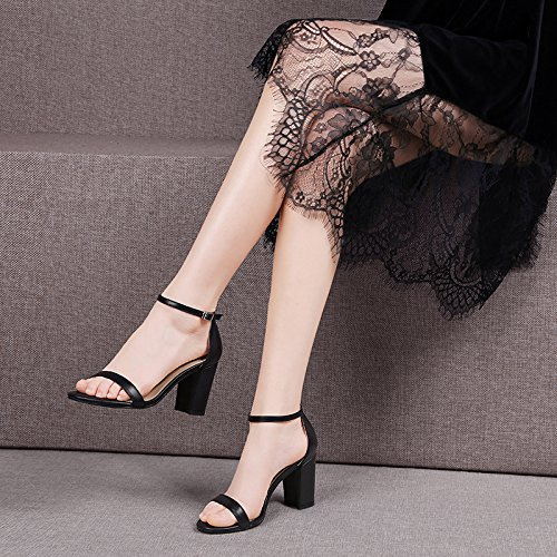 SHOESHAOGE Sandalias De Rocío Femenino-Toe, Negrita Y Correas Planas, De Tacón Alto Zapatos De Mujer Minimalista EU35/UK23