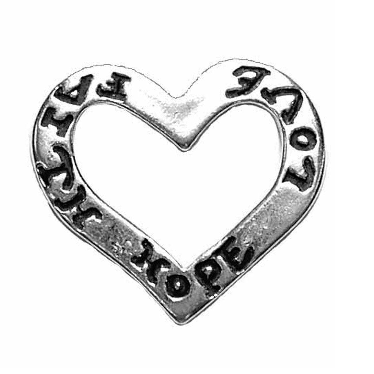Sterling Silver Girls .8mm Box Chain Faith Hope and Love Cut Out Heart Pendant Necklace