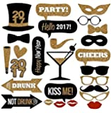 Veewon 2017 New Years Eve Party Photo Booth Props 26pcs kit fai da te Maschere Photobooth carte baffi cappello rosso Lips Occhiali