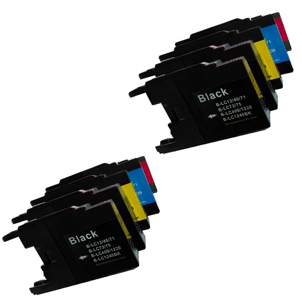 10 High Yield Compatible Ink Cartridge Combo, LC75 (4xBk, 2xC, 2xM & 2xY)