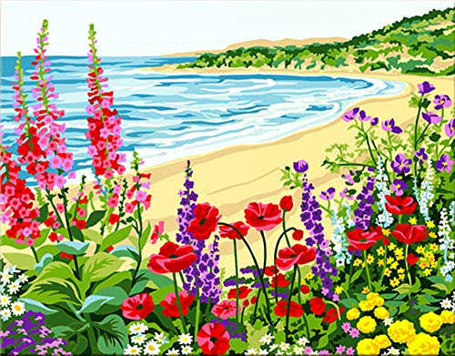 iFymei Paint by Number Kits Paintworks DIY Acrylic Oil Painting for Kids and Adults Beginner, Colorful Home Furnishing Canvas 16x20inch-Romantic Coast