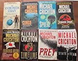 Michael Crichton 8 Book Set Including the Andromeda Strain, Congo, Sphere, Jurrassic Park, Rising Sun, Timeline, Prey, and State of Fear