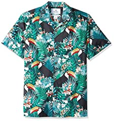 An Amazon brand - A vibrant print adds tropical appeal to this casual aloha shirt made with breezy cotton for beach or out-of-office style