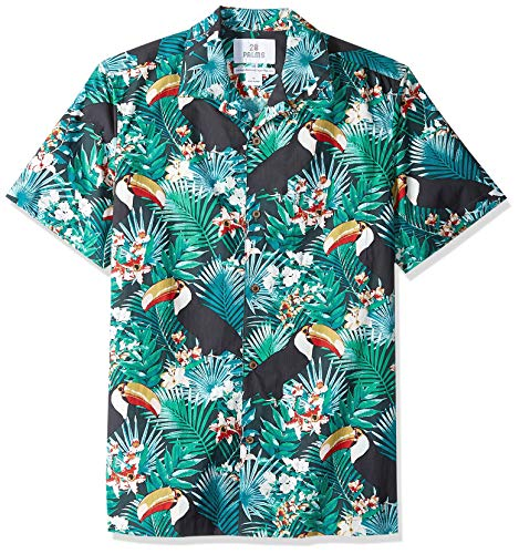28 Palms Men's Standard-Fit 100% Cotton Tropical Hawaiian Shirt, Turquoise Toucan, X-Large ()