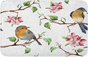 "Adowyee Bath Mat Watercolor Pattern with Tree Branches Birds and Apple Blossom Hand Painted Spring Cozy Bathroom Decor Bath Rug with Non Slip Backing 16"" X 24"""