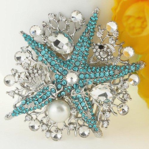 EVER FAITH® Etoile de Mer Perle Corail Artificielle Crème Peigne Cristal Autrichien Bleu Ton Argent