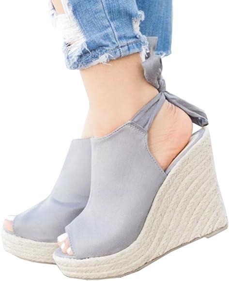 ea8d1300736 Womens Espadrille Platform Wedge Heel Peep Toe Ankle Strap Slingback Suede  Sandals