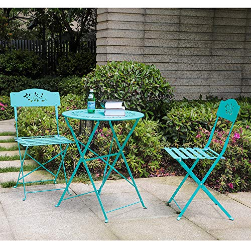 Orange-Casual 3-Piece Patio Bistro Set Steel Folding Dining Table and Chairs Garden Backyard Outdoor Furniture, Decorative Design-Blue
