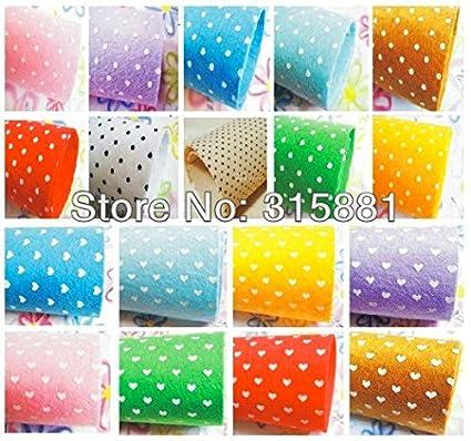 0e05316a1fdd3 Amazon.com: Printed Polka Dots, hearts, flowers Felt Fabric 26pcs/lot 12