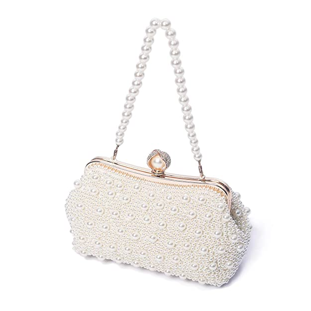 Toihsuan Women's Pearl Beaded Cream Evening Cluthes Bags For Wedding With Shoulder Strap by Toi Hsuan