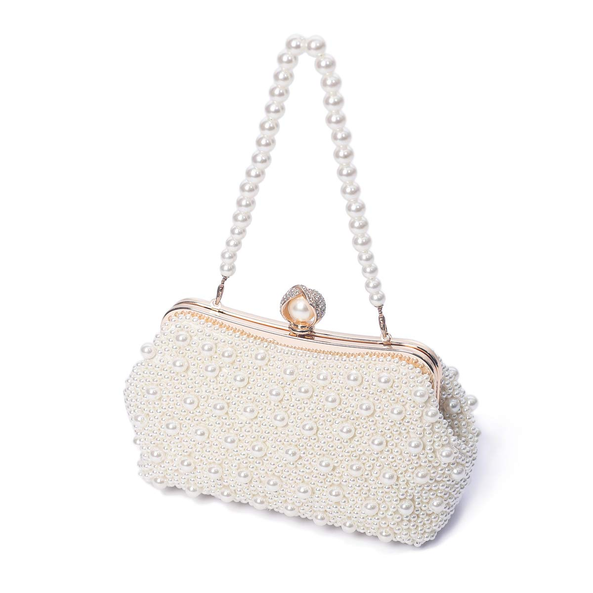 TOIHSUAN Women's Pearl Beaded Cream Evening Cluthes Bags for Wedding-with shoulder strap