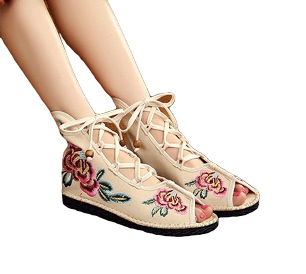 Kool Classic Women's Embroidery Open Toe Lace-up Gladiator Roman Flats Sandal B06XW765L5 35 M EU=5.5 B(M) US|Flower Beige