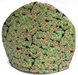 Handmade Red Christmas Holly Print Fabric Tea Cozy Lined and Padded Cosy