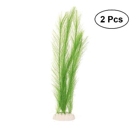 POPETPOP 2 Piezas Plantas Plásticas de Acuario Falsas, Planta Artificial Decoración para Acuario Pecera,