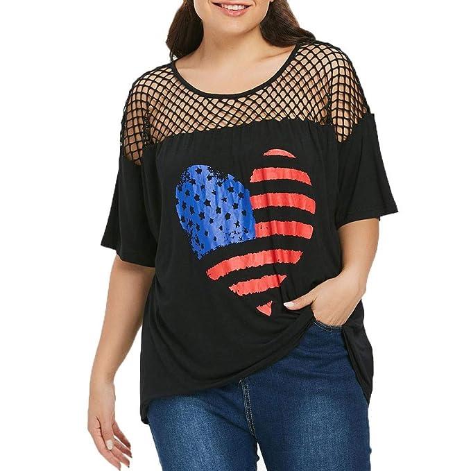 67270f37c2 URIBAKY ✤✤ Elegante Camisas Mujer Verano Encaje Camiseta de la Bandera  Americana del Modelo del Corazon Tallas Grandes Camisetas Mujer Manga Corta  ...