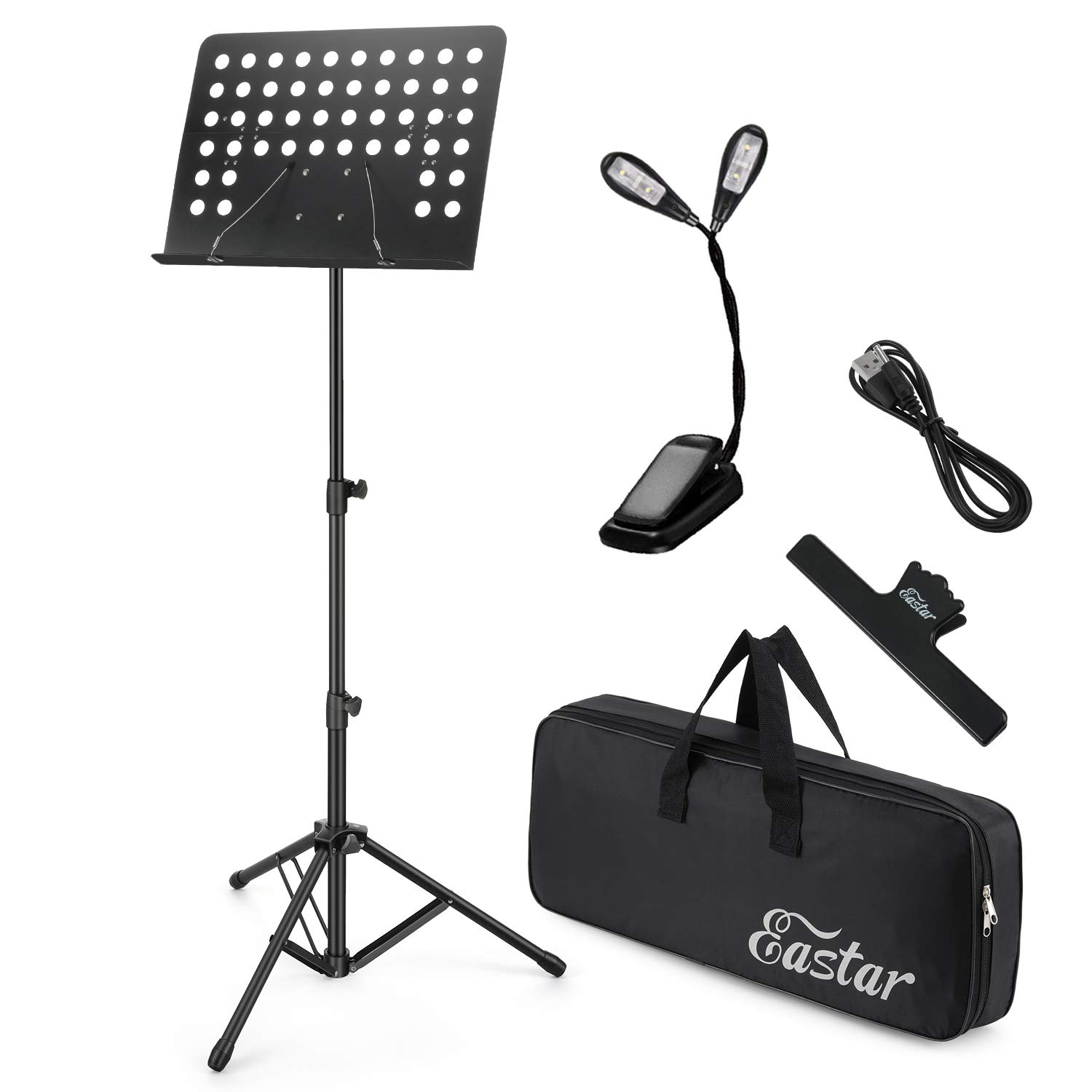 Eastar Folding Sheet Music Stand EMS-1 Portable Metal Stand Kit With Light Carrying Bag Black