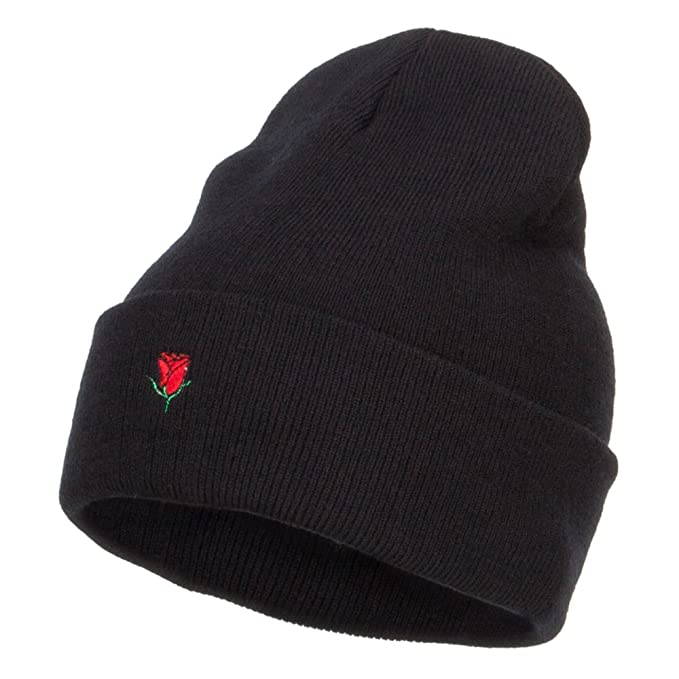 ce47eb4f Amazon.com: E4hats Mini Rose Embroidered Long Beanie - Black OSFM ...