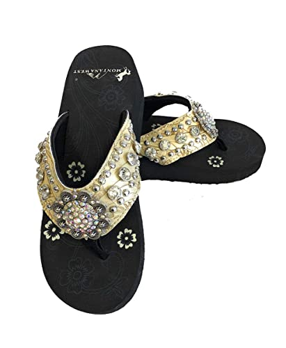 67ab209a6 Montana West Women Flip Flops Wedged Bling Sandals Large Floral Concho Beige