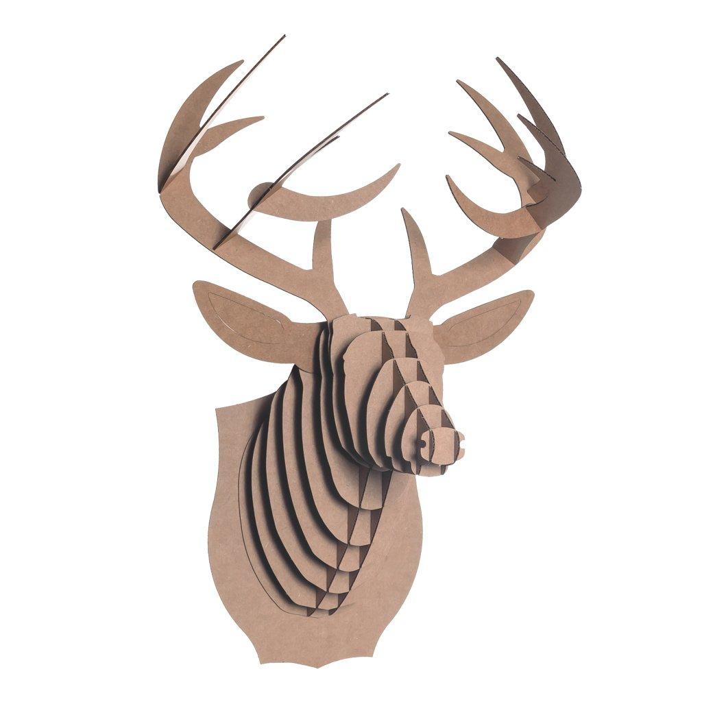Cardboard Safari Recycled Cardboard Animal Taxidermy Deer Trophy Head, Bucky Brown Small