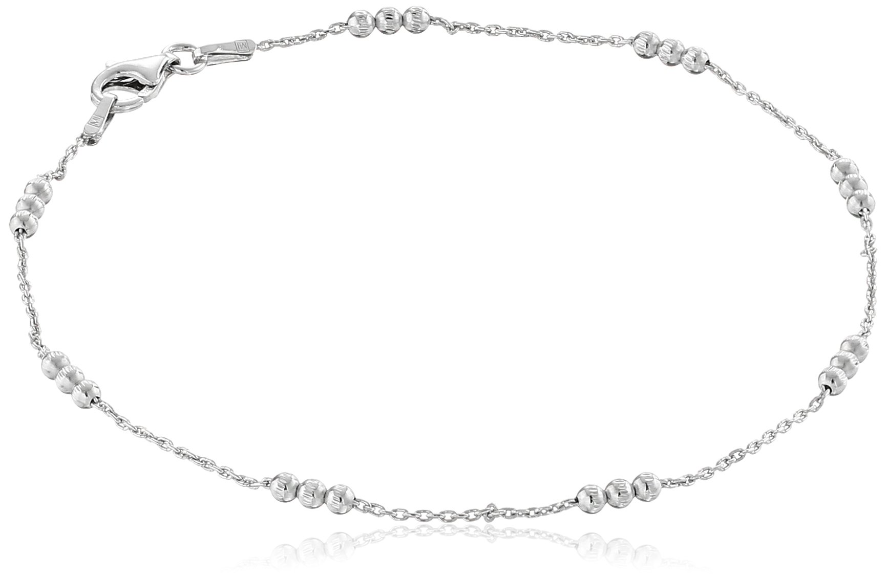 Sterling Silver Italian High Polished 3 Bead Station Anklet, 8.75''