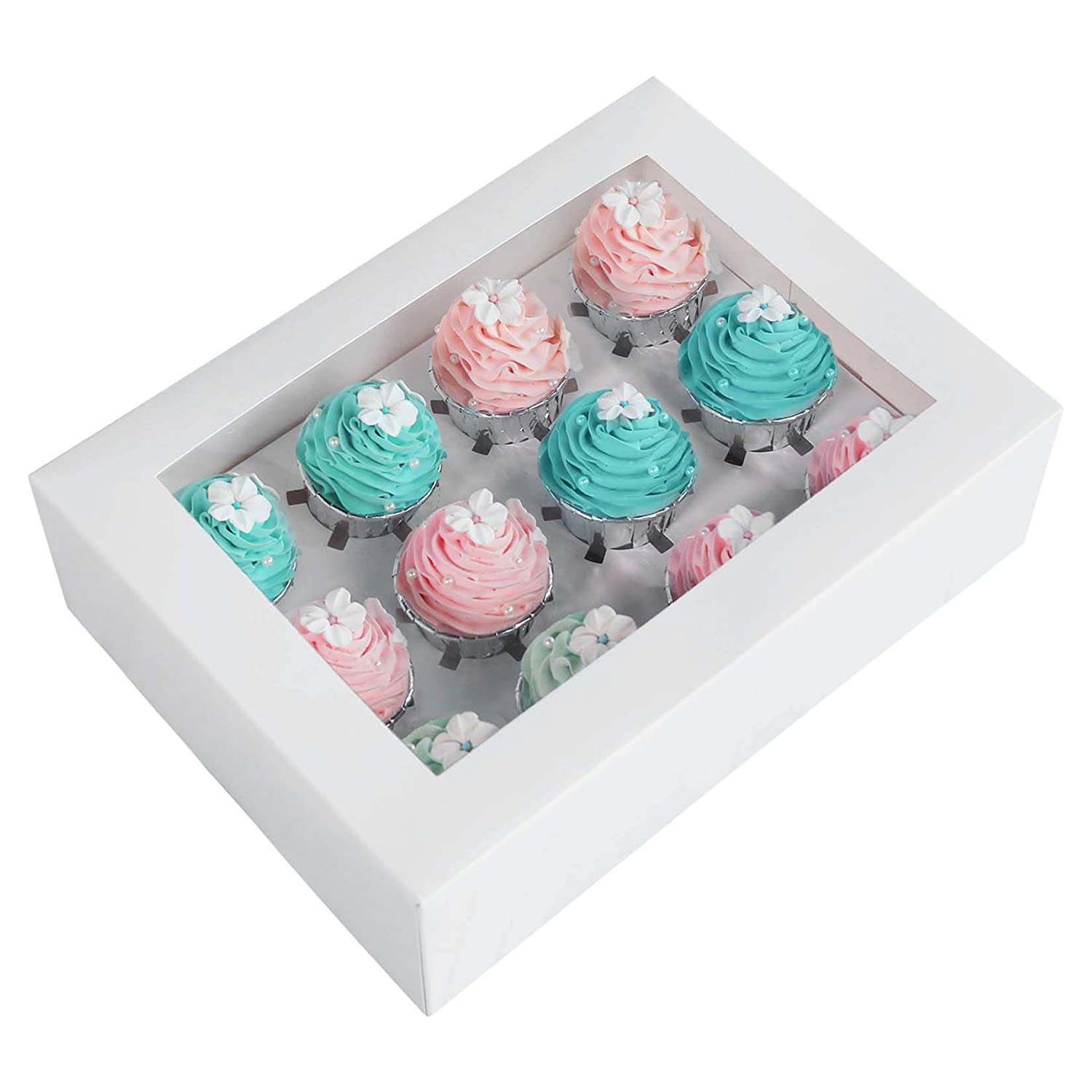 15-Pack White Cupcake Boxes 12 Holders Cake Carrier Food Grade Kraft Pop-up Bakery Boxes 13.8 x 9.5 x 4inch with Inserts and PVC Windows Fits 12 Cavity Cupcake Pack of 15