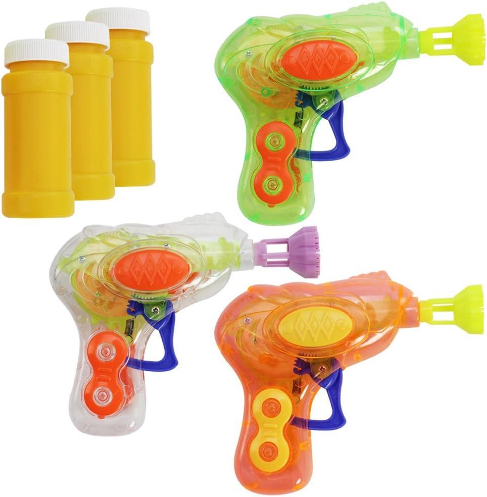 com-four® 3X Mini Pistola de Burbujas de Jabón con luz LED en Colores Diferentes - Máquina de Pompas de Jabón de Plástica para Niños y Adultos - Bubble Gun para Fiestas Infantiles (03 Piezas - Mix1)