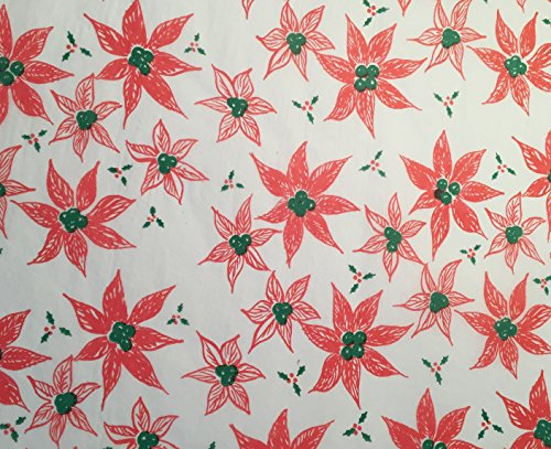 GIFT WRAP TISSUE PAPER for Christmas, 24 Sheets, Large 20x30, Printed Decorative Tissue Paper (Poinsettia Sketches) (Poinsettia Pearl)