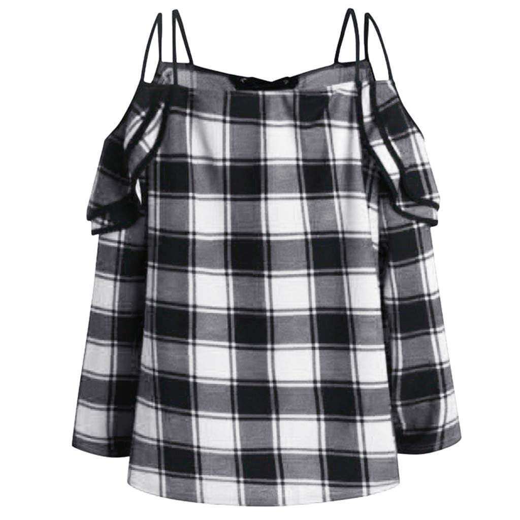 Womens Long Sleeve V Neck Plaid Contrast Top Off Shoulder Ruffled Blouse Off Shoulder Tops for Women