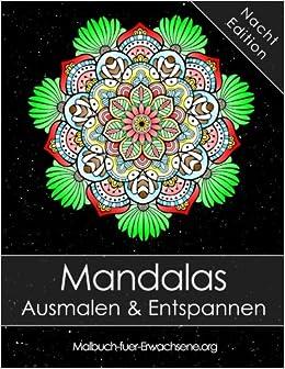 Mandala Malbuch Für Erwachsene Mandalas Auf Schwarzem Hintergrund