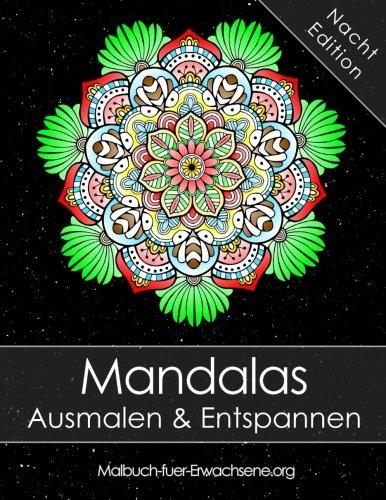 Malbuch für Erwachsene: Mandalas auf schwarzem Hintergrund ...
