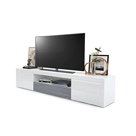Vladon Tv Unit Stand Santiago Carcass In White High Gloss Front In