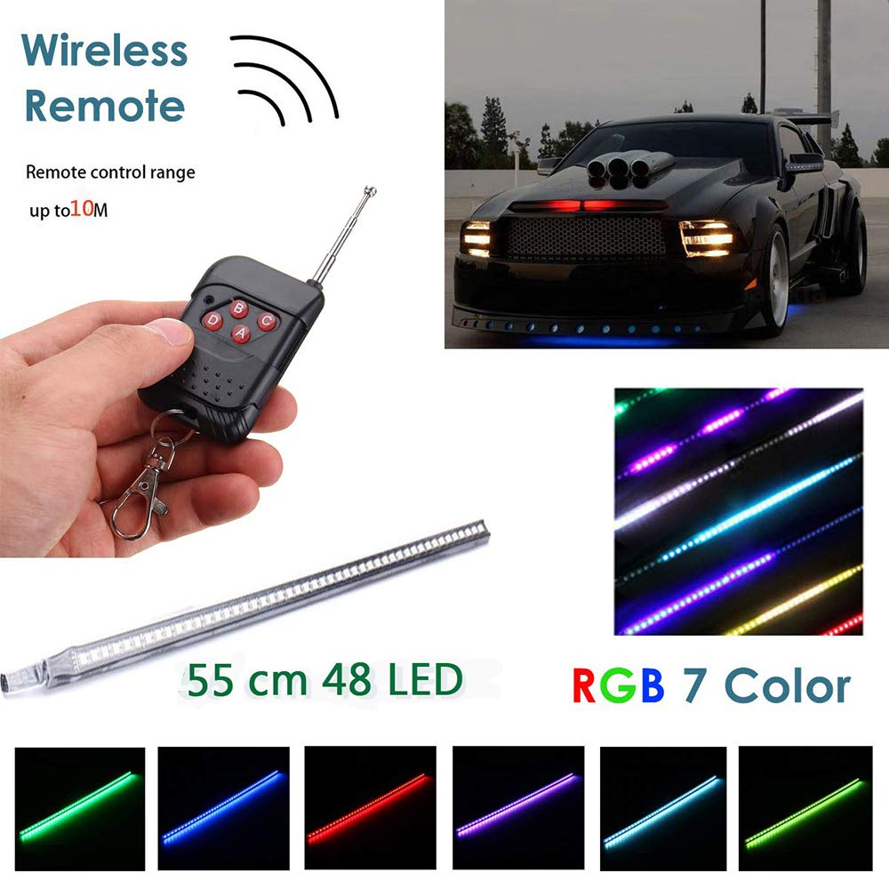 WIVION Car Strobe Lighting Strip Kit,Knight Night Rider Light Bar 7 Color 147 Modes 48 LED RGB 22'' Flashing Car Strobe Lighting Strip Kit 12V